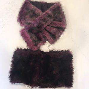 NWT Loft 2 Faux Fur scarf/snood